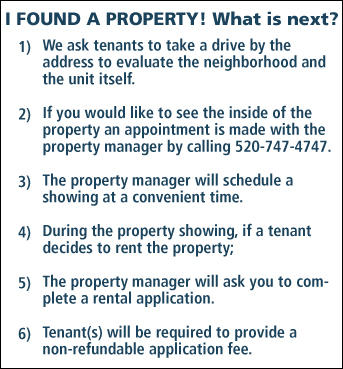 List containing steps to rent a property